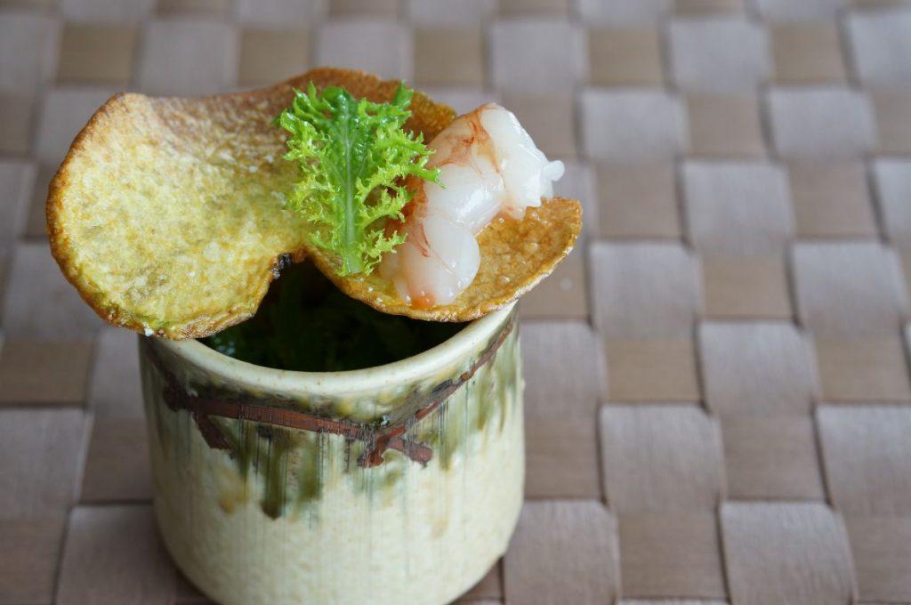 赤海老と山葵菜のサラダ仕立て