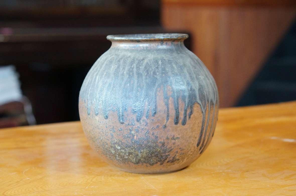 流れ釉丸壺3